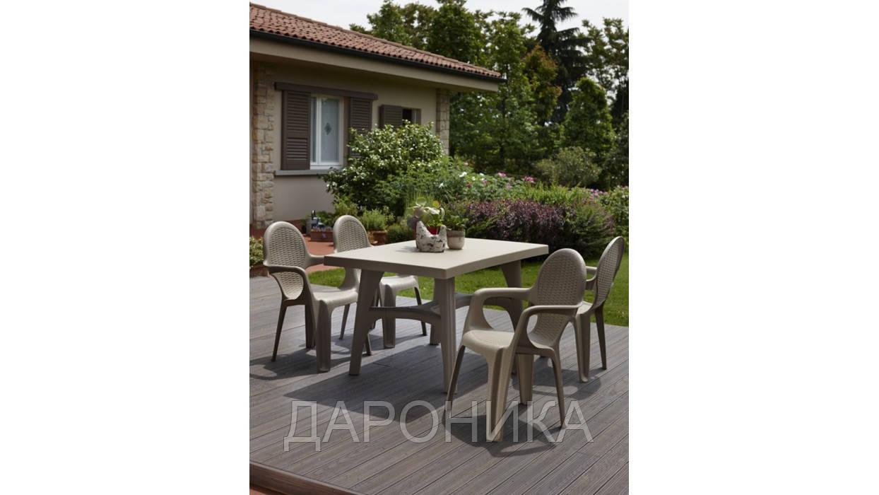 Комплект пластикових меблів стіл Intrecciato + 4 крісла бежевий