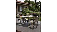 Комплект пластиковой мебели стол Intrecciato + 4 кресла бежевый, фото 1