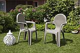 Комплект пластикових меблів стіл Intrecciato + 4 крісла бежевий, фото 2