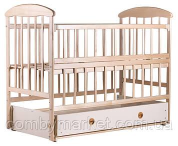 Детская кроватка «Наталка» - с откидной боковушкой, маятником и ящиком ольха светлая