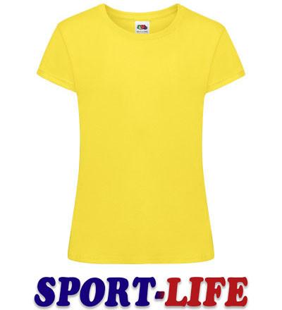 Детская футболка для девочек оптом для печати FRUIT OF THE LOOM SOFSPUN® T Желтая