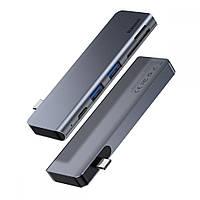 Адаптер Baseus UCN3266 Harmonica 5в1 USB 3.0х2/ SDx1/ TFx1/ PDx1 Сірий (123122)
