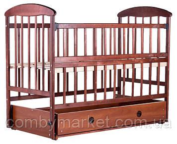 Дитяче ліжечко «Наталка» - з відкидною боковушкой, маятником і ящиком вільха темна