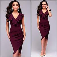 Платье с воланом цвета марсала Leila (Код 425)