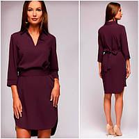 Платье-рубашка цвета марсала Gven (Код 412)