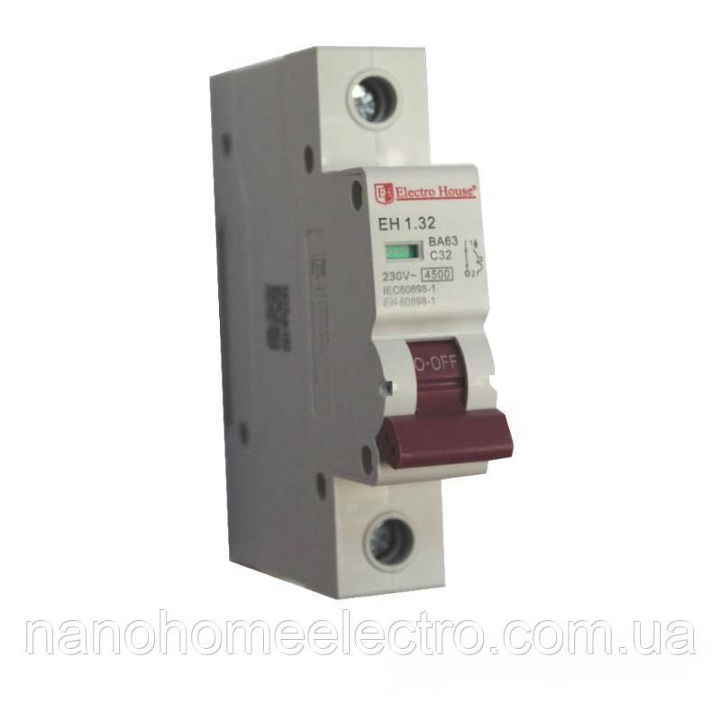ElectroHouse Автоматичний вимикач 1P 32A 4,5 kA 230-400V IP20