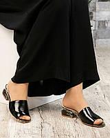 Босоножки - шлепки кожаные черные, фото 1