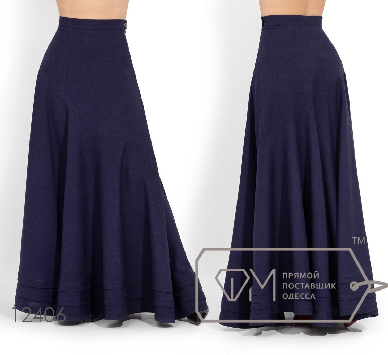 Льняная юбка в пол, темно-синий