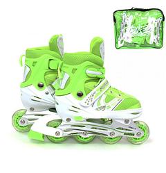 Детские роликовые коньки.Детские салатовые ролики.Светящиеся колеса на ролики.