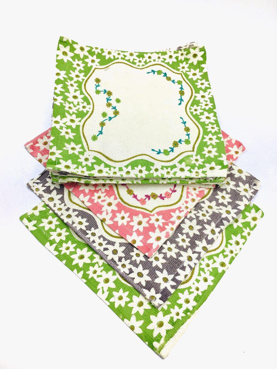 Салфетка махровая с цветочками -4шт/набор