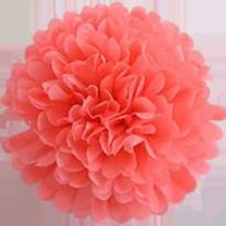 Бумажный помпон из тишью 15 см коралловый