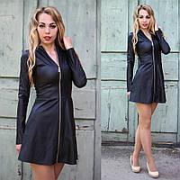 Кожаное женское мини платье с молнией