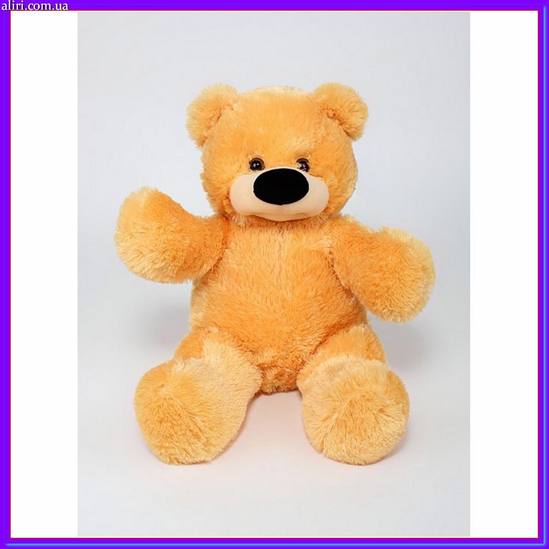 Якісна м'яка іграшка ведмедик 45 см медовий колір сидячий
