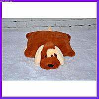 Декоративная детская подушка мягкая игрушка собачка коричневый 45 см