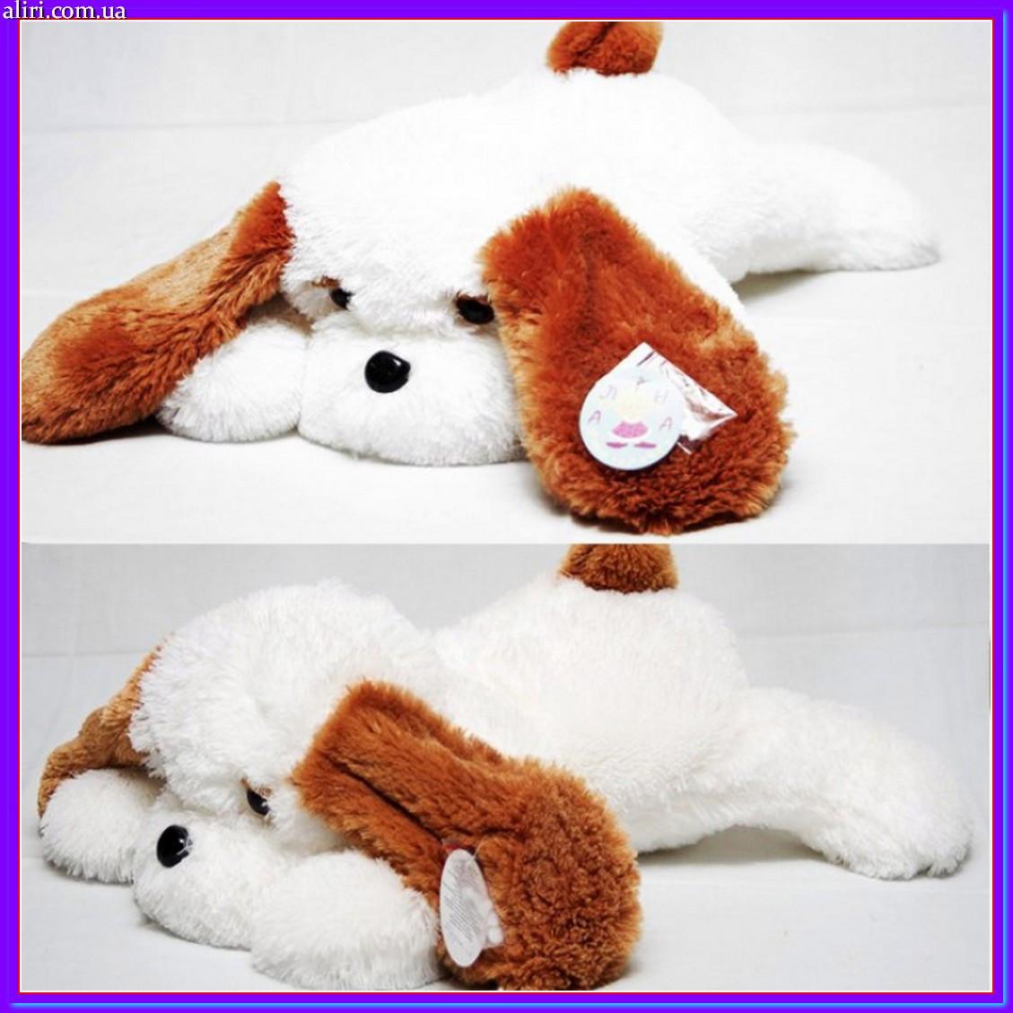 Большая мягкая игрушка плюшевая собачка 65 см белый цвет