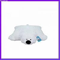 Декоративная детская подушка-трансформер мишка белый 55 см