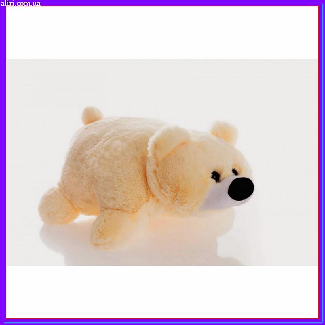 Декоративна дитяча подушка-трансформер ведмедик персик 55 см