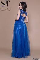Платье женское вечернее Роскошная спина электрик
