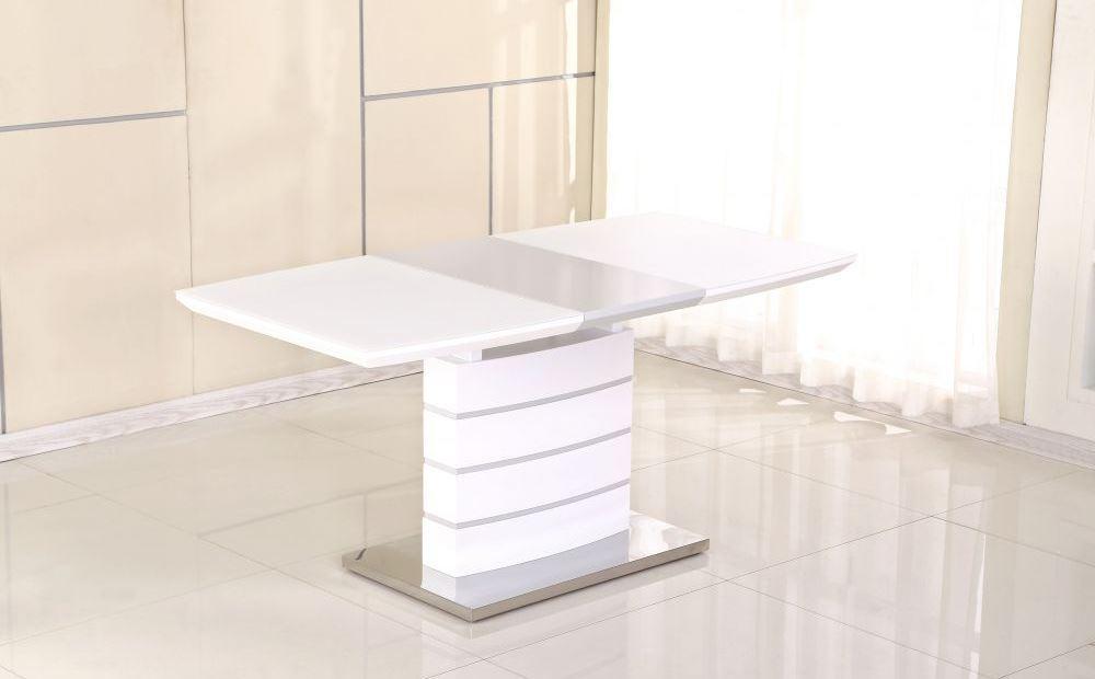 Раздвижной стол Хьюстон супер белый сатин 120/160 DT-9123-1