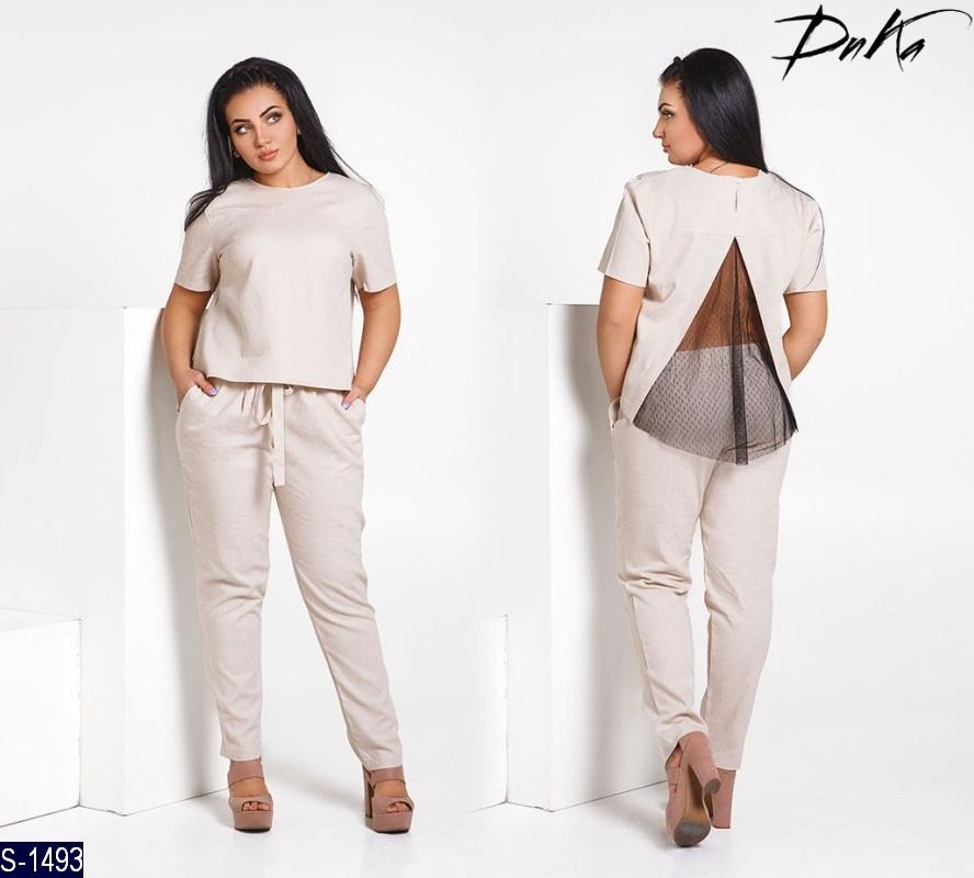 ab5688a9ecf5f Женский летний брючный костюм,кофта+брюки с поясом на резинке,в боковых  швах обработаны карманы (лен) 4 цвета
