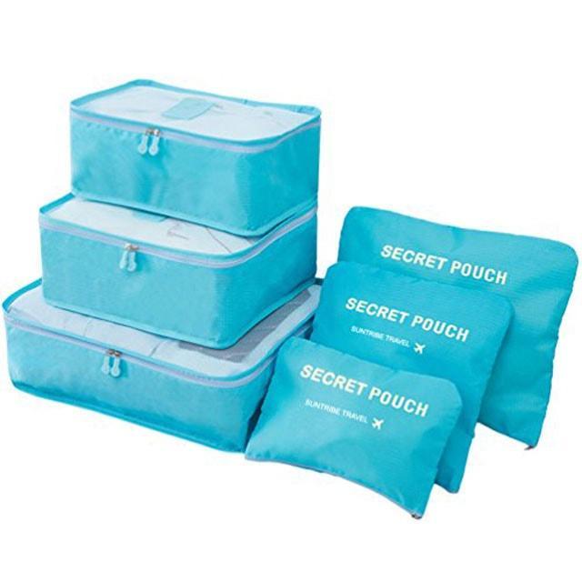 Набор сумочек в чемодан голубой