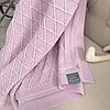 Хлопковый вязаный плед Ромб (розовый) летний