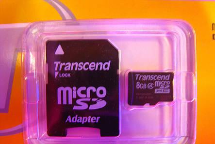 Карта памяти Transcend micro SDHC 8GB Class 4 + SD adapter, фото 2