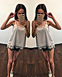 Модная женская шелковая блуза с кружевом,размеры:42-44,46-48., фото 3