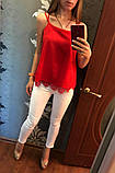 Модная женская шелковая блуза с кружевом,размеры:42-44,46-48., фото 5