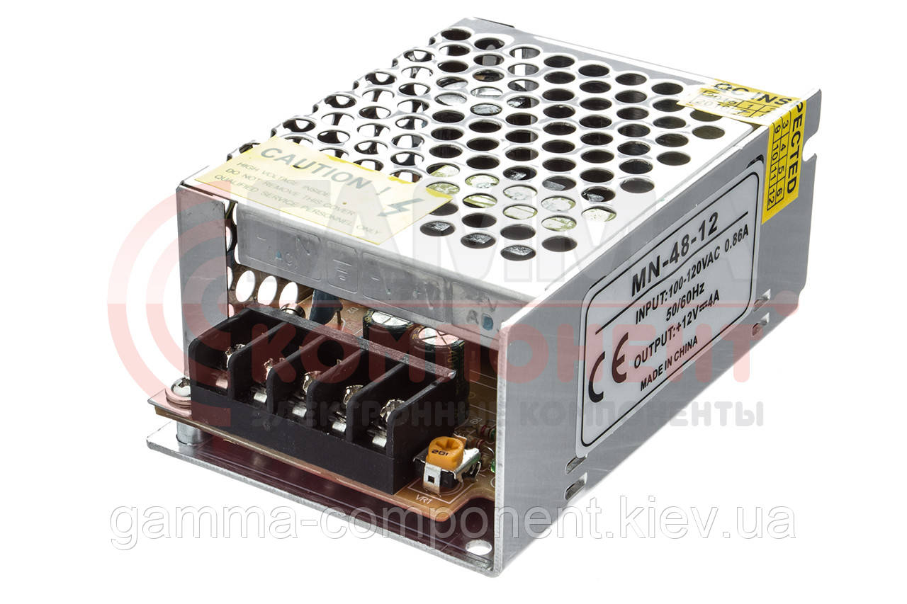 Блок питания 12В перфорированный Compact, 4A 48Вт, IP20
