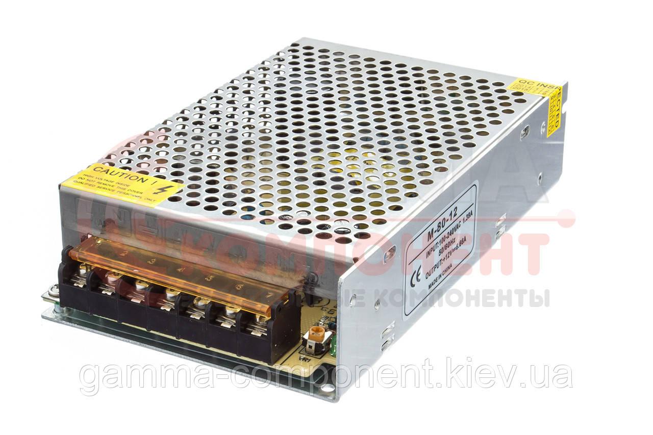 Блок питания 12В перфорированный Compact, 6.6A 80Вт, IP20