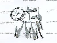 Черный комплект тормозов V-brake + тормозные ручки, Китай