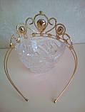 Корона под золото с фиолетовыми камнями, диадема, тиара, высота 5,5 см., фото 3