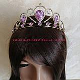 Корона под золото с фиолетовыми камнями, диадема, тиара, высота 5,5 см., фото 5
