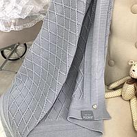Хлопковый вязаный плед Ромб (серый) летний, фото 1