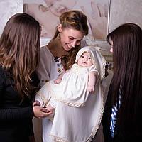 """Крестильный набор для девочки """"Ангельский"""" (белый, молочный) с коротким рукавом"""