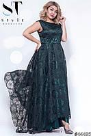 Платье женское атласное с органзой вечернее Роза изумрудное Батал