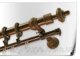 Карниз  двойной труба+шина орех 2,4 м