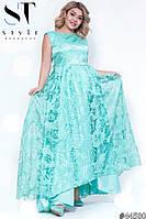 Платье женское атласное с органзой вечернее Роза мята Батал