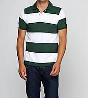 Тенниска мужская зеленая в полосочку с коротким рукавом Moncler