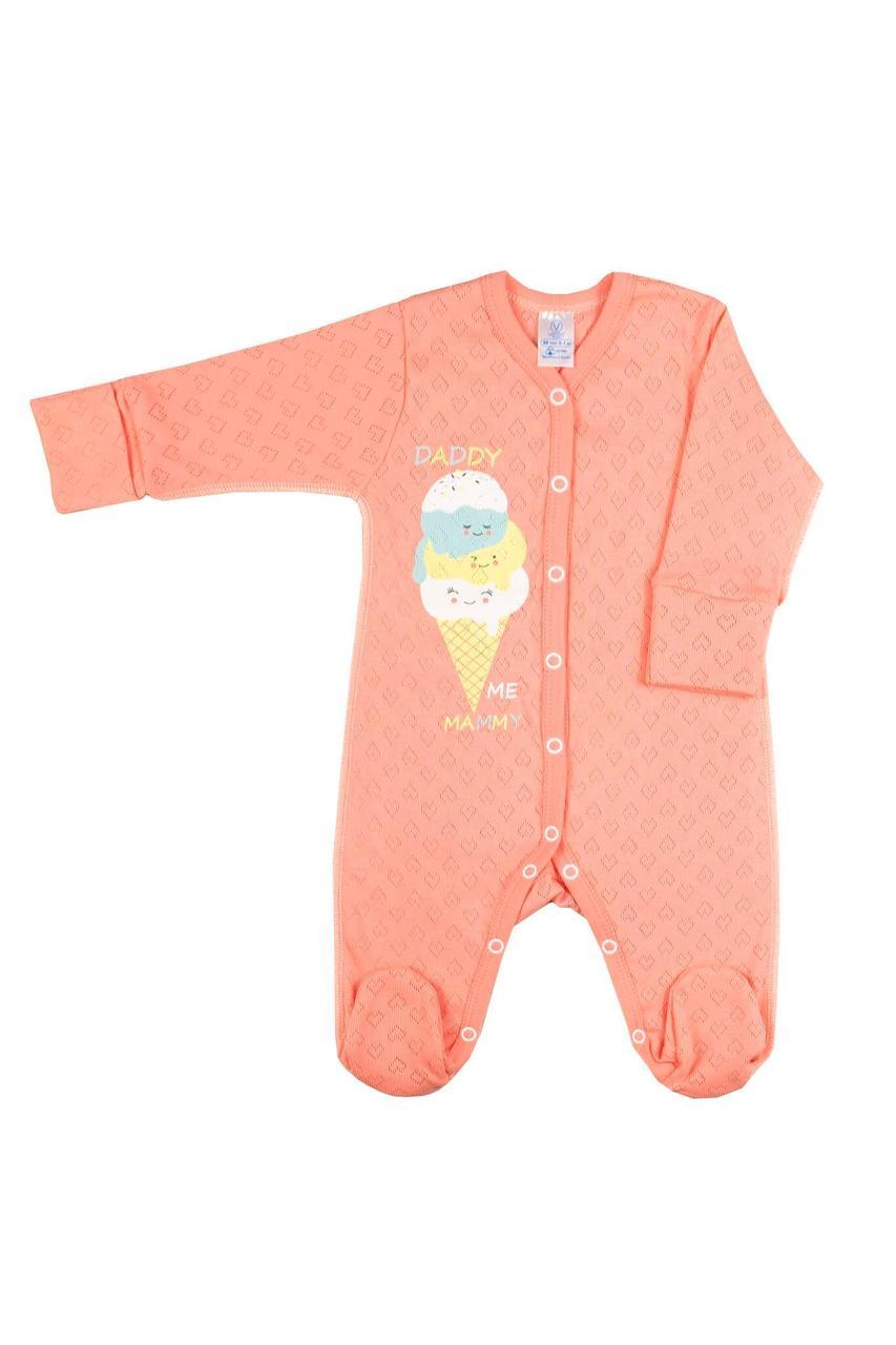 Комбинезон для новорожденных Верес Sweet Family трансферная рибана  56 персиковый