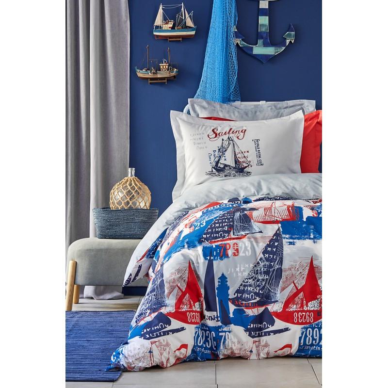 Постельное белье Karaca Home - Hutson mavi 2019-2 голубой ранфорс подростковое
