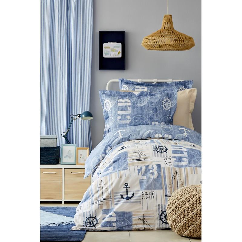 Постельное белье Karaca Home - Sandes indigo 2019-2 ранфорс подростковое
