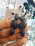 Лазурит сережки натуральний лазурит в сріблі, фото 3