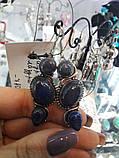 Лазурит сережки натуральний лазурит в сріблі, фото 2