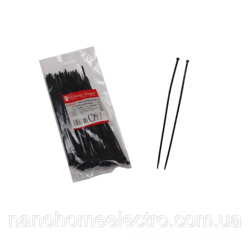 ElectroHouse Стяжка кабельная черная 4x200мм. 100шт./п