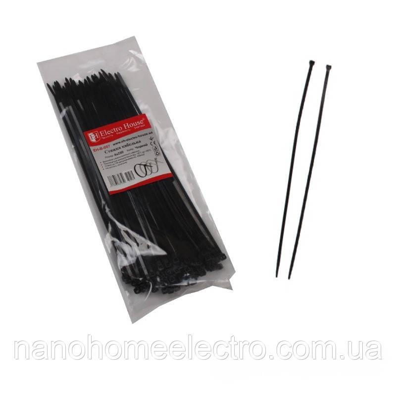 ElectroHouse Стяжка кабельная черная 4x250мм. 100шт./п
