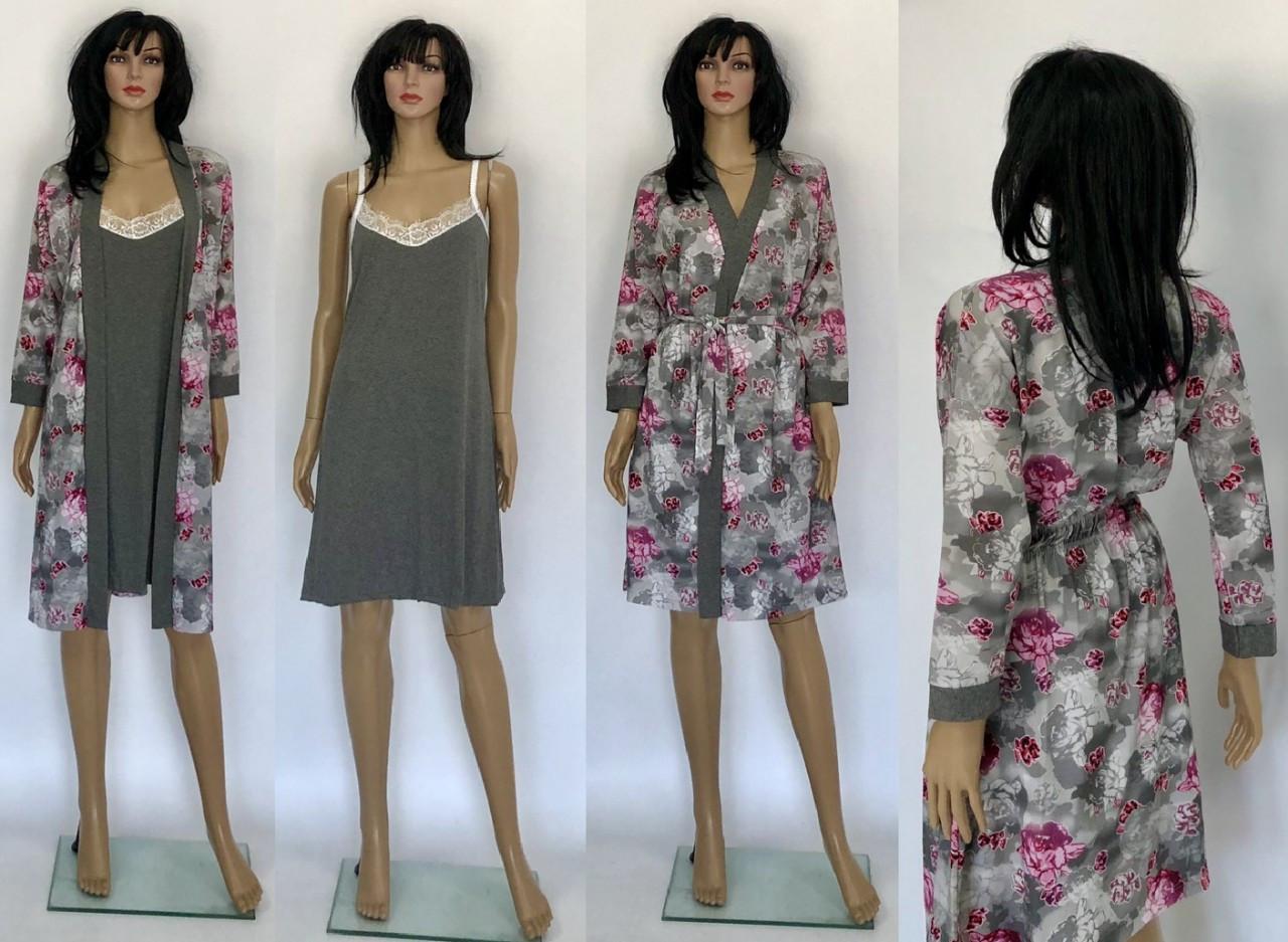 14a1b750f034 Халат для беременных и ночная рубашка для кормления серого цвета 46-52 р -  Puziki