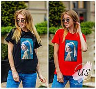 Модная молодежная женская футболка с  аппликацией. 5 цветов!, фото 1