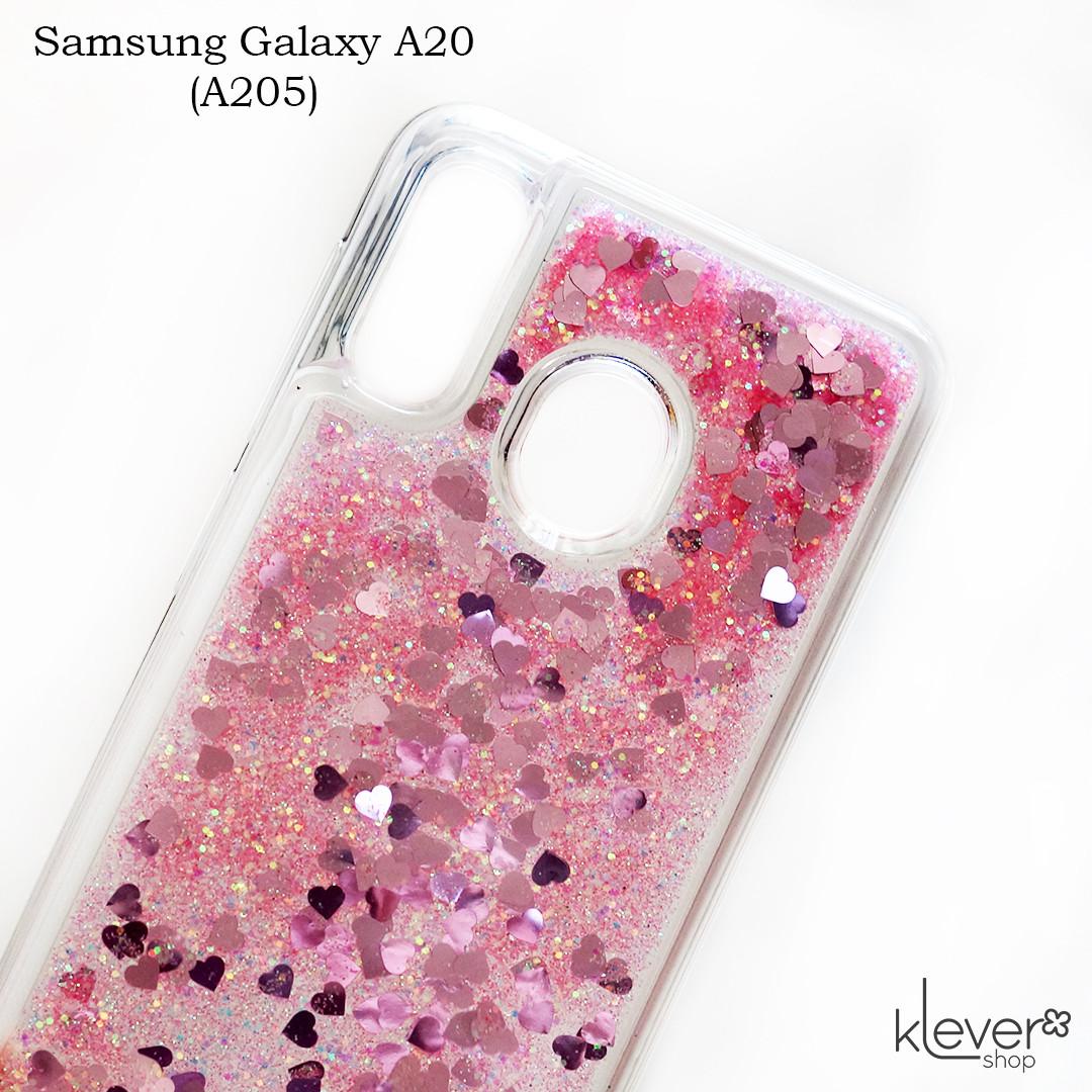 Чехол аквариум для Samsung Galaxy A20 (SM-A205) (сердечки и розовые блестки)